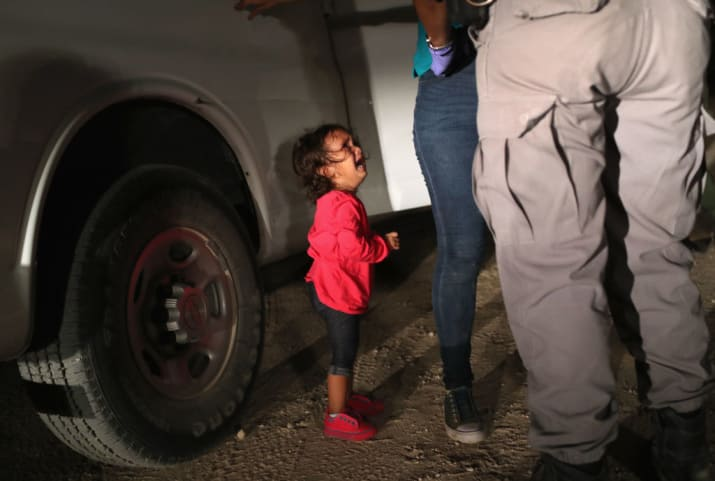 Child crying at border