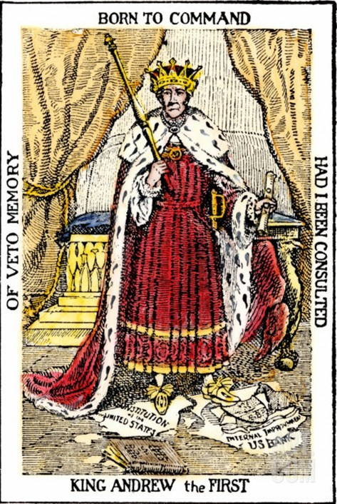 Political cartoon, Andrew Jackson as king