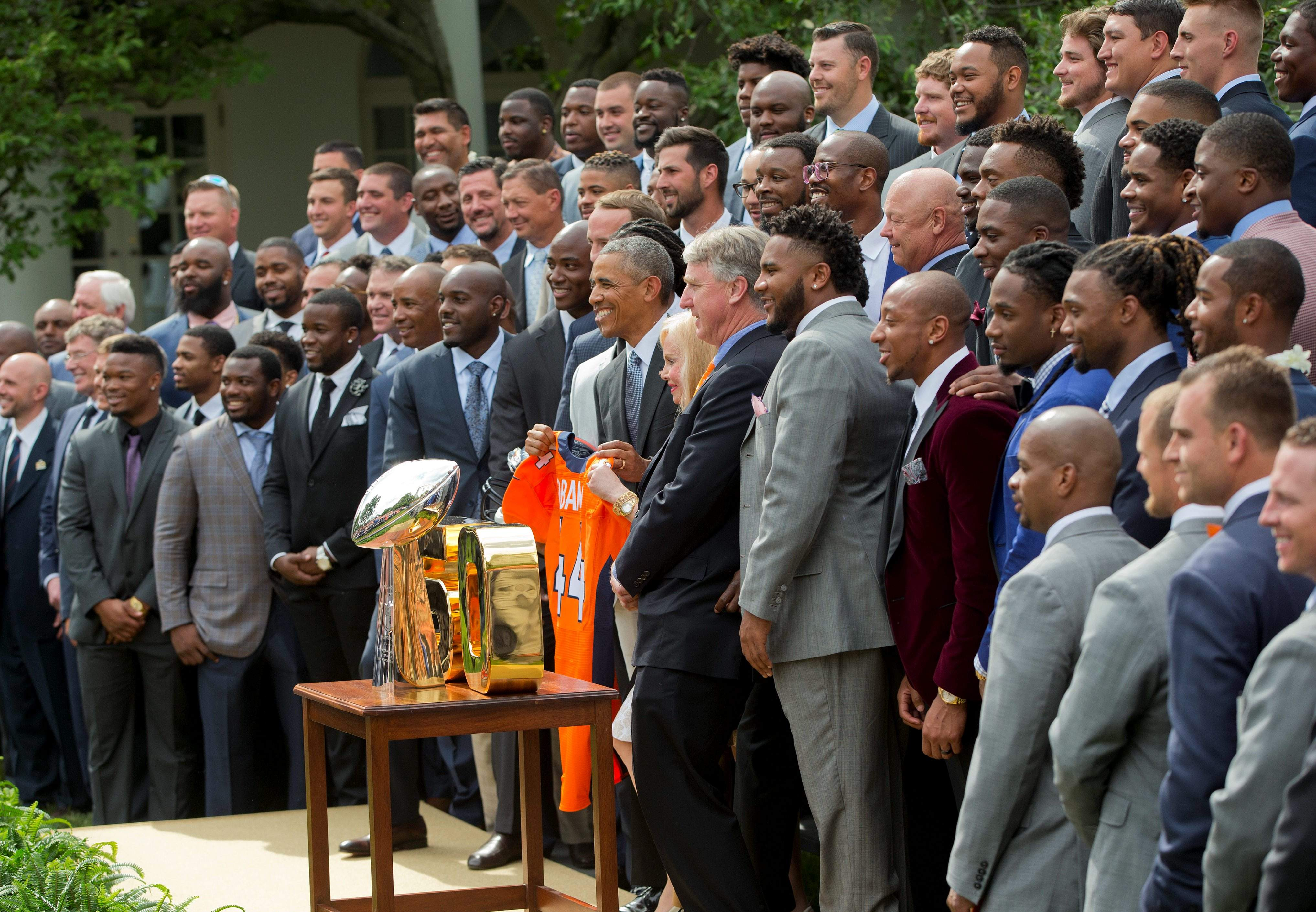 Obama with the Broncos