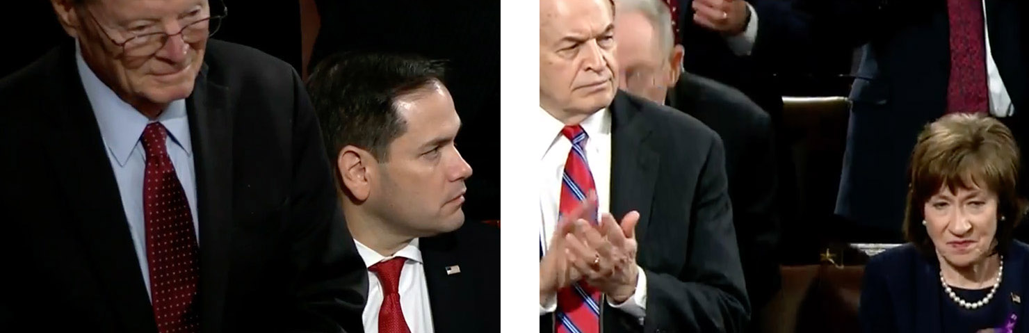 Susan Collins and Marco Rubio look bored
