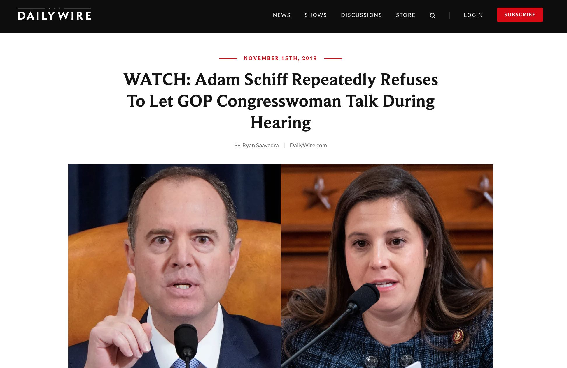 The Headline is: Adam Schiff Repeatedly Refuses To Let GOP Congresswoman Talk During Hearing