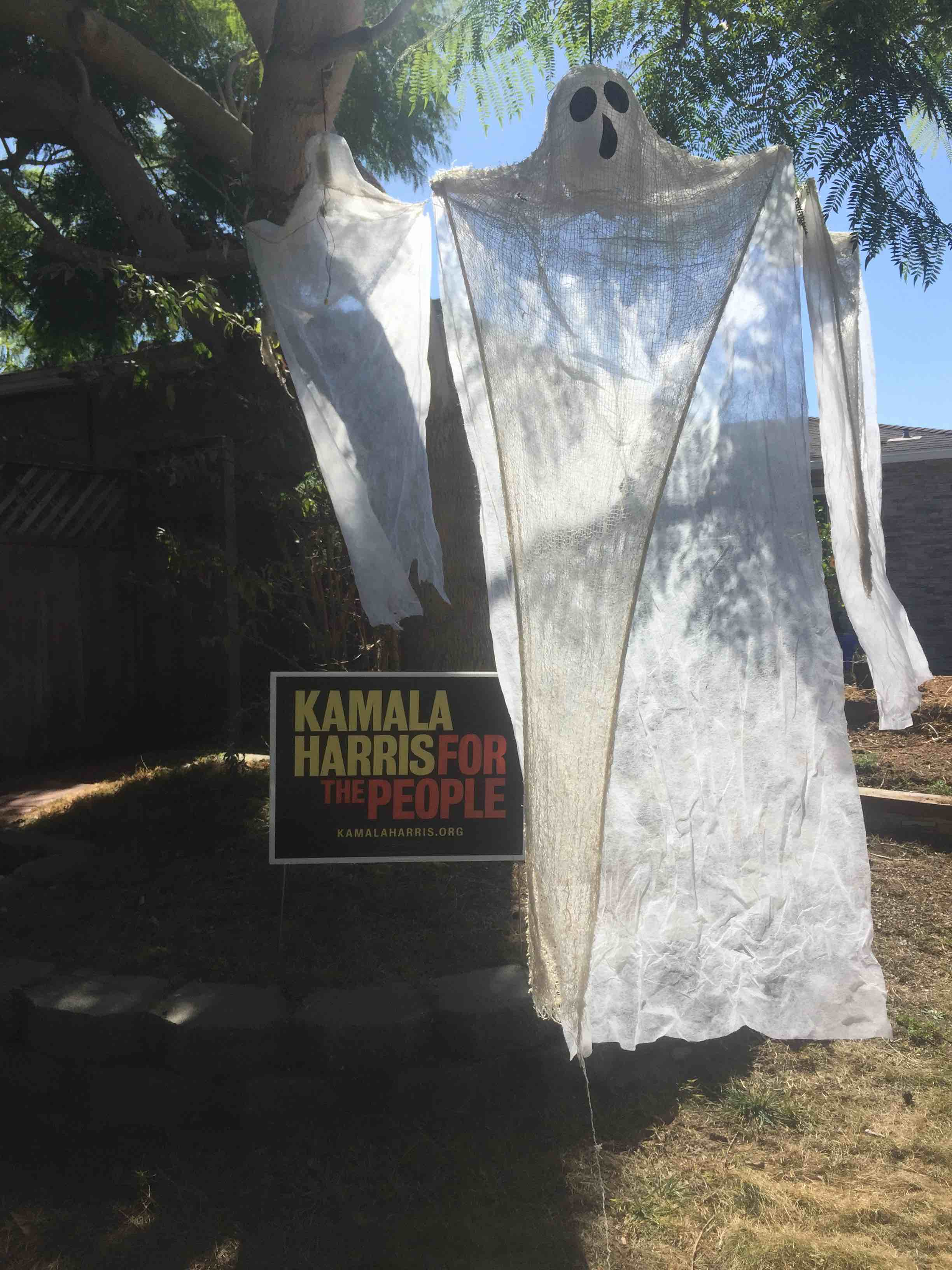 Two halloween ghosts next to a Harris for president sign