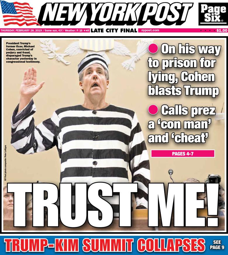 NY Post: Cohen as Jailbird