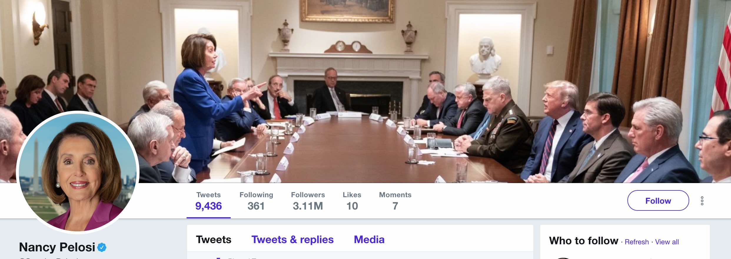 Pelosi's Twitter account shows her standing at a table in the White House and speaking; not remotely a meltdown.