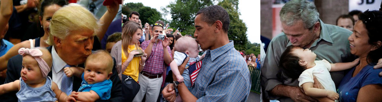 Trump, Obama, and W. kissing babies