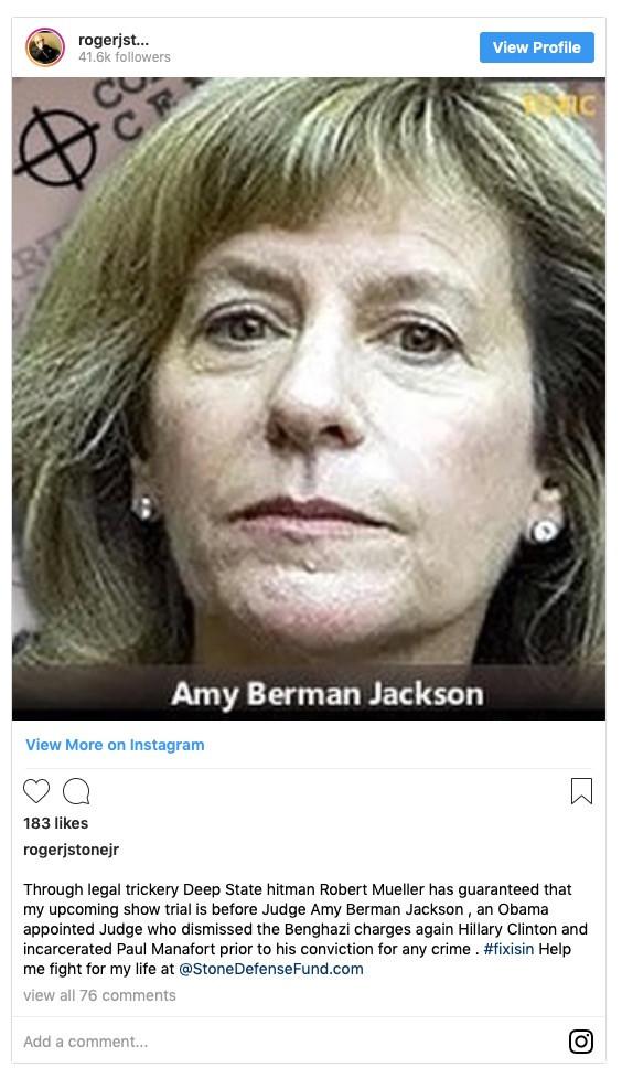 Roger Stone wants Amy Berman Jackson dead?
