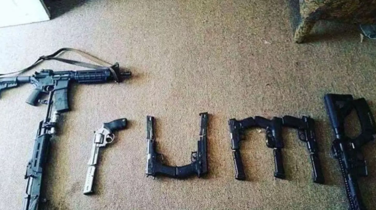 'Trump' spelled out with guns'