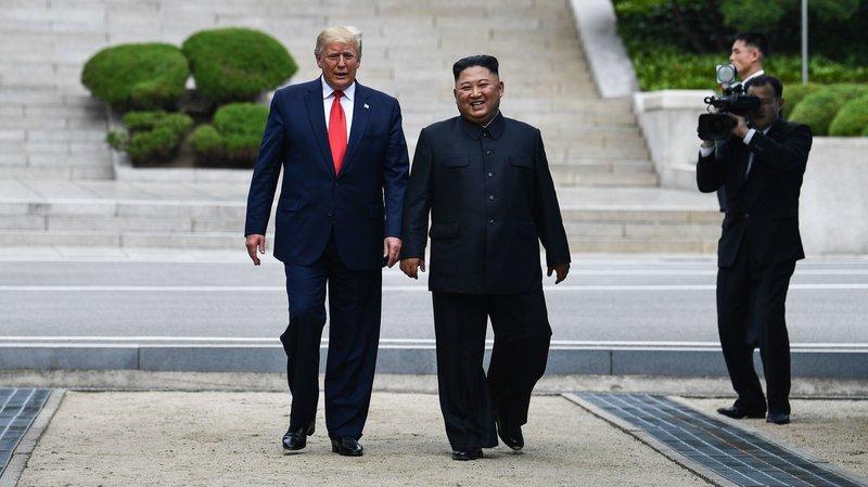 Trump and Kim walk together in North Korea