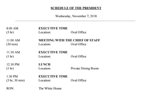 Trump's daily schedule is quite empty