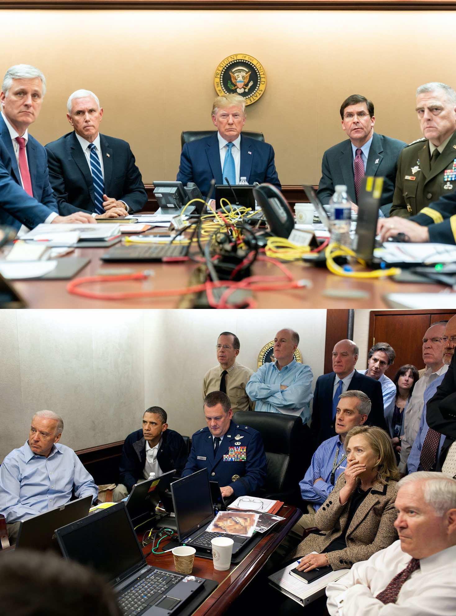 Team Trump on top, Team Obama on bottom