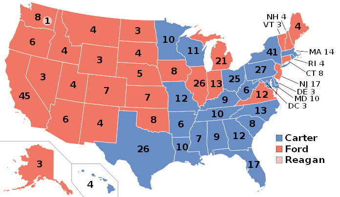 1976 electoral-vote map