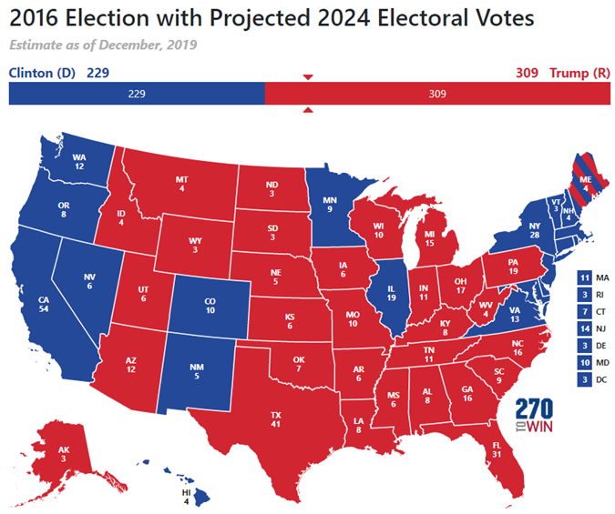 2024 map with 2016 election results