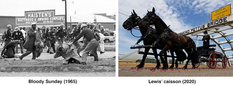 Bloody Sunday in 1965 and John Lewis caisson in 2020