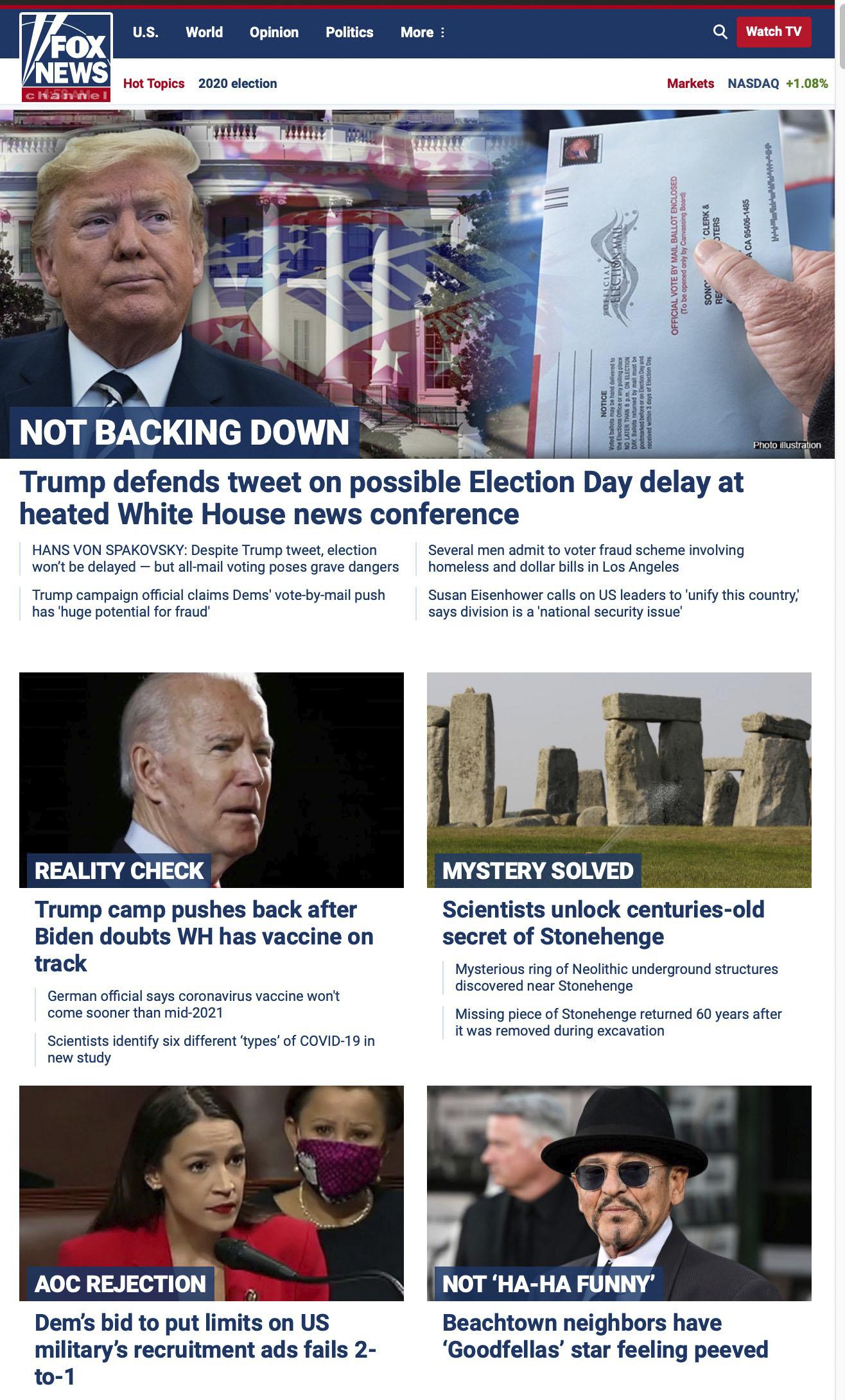 Fox News Website July 31