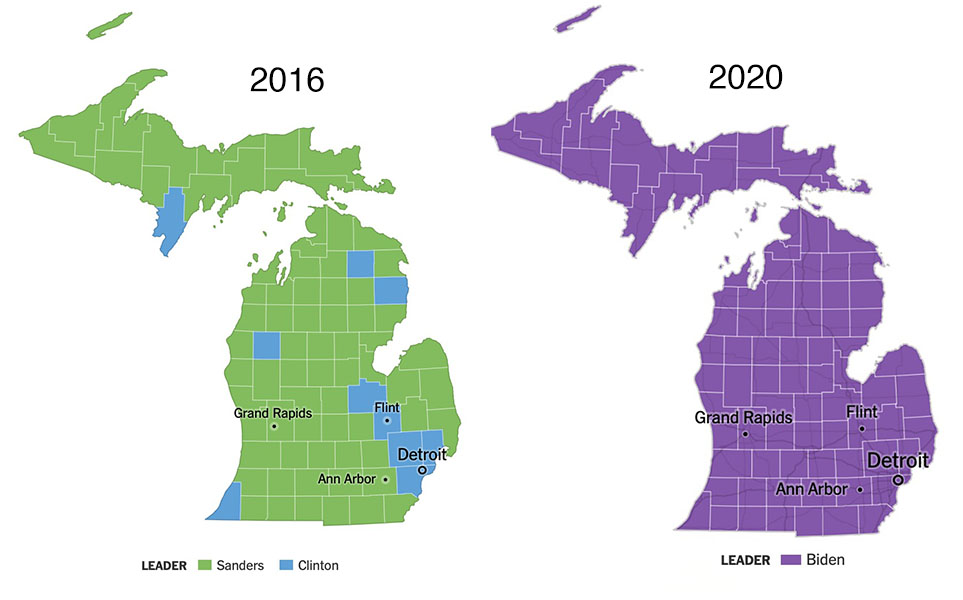 County-level primary map; in 2016 Clinton took 10 counties, mostly near Detroit, and Sanders took 73. In 2020, Biden took all 83.