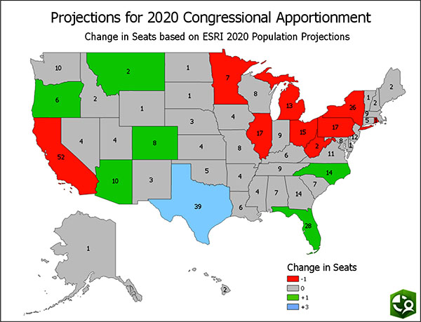 California, Minnesota, Illinois, Michigan, Ohio, West Virginia, Pennsylvania, New York, and Rhode Island will lose one seat; Arizona, Colorado, Montana, Oregon, Florida,  and North Carolina will gain one seat; and Texas will gain three seats.