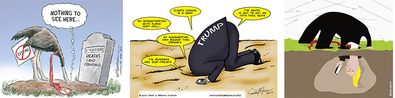 Trump with his head in the sand