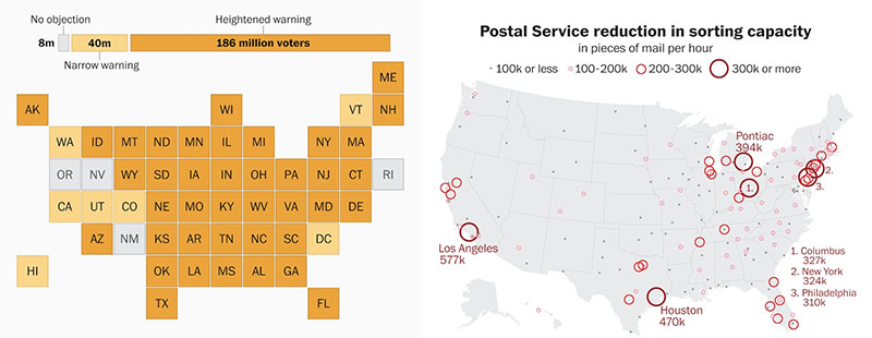 USPS warnings to states and where sorting machines have been decommissioned