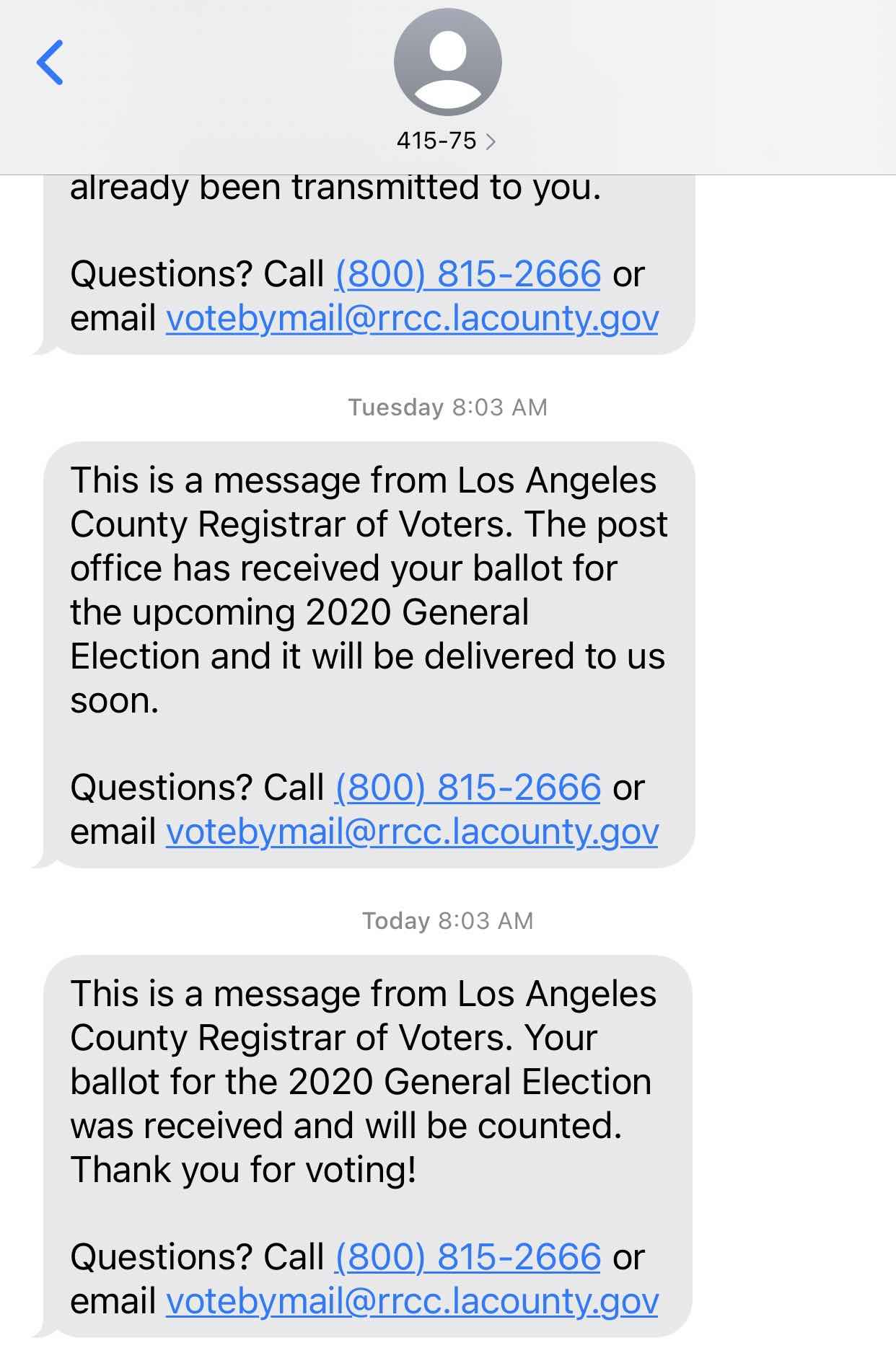 A series of text messages confirming receipt and processing of this voter's mail-in-ballot