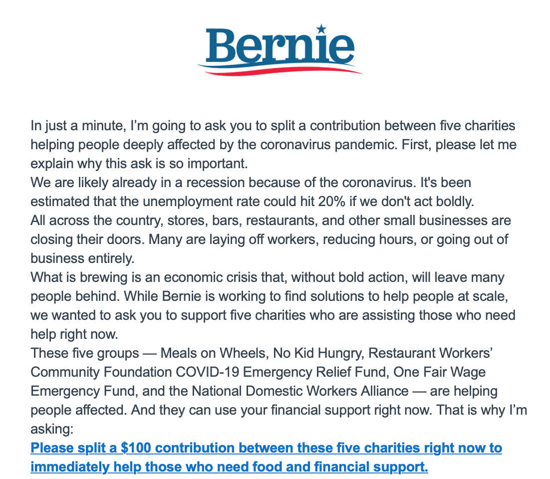 A fundraising e-mail asking Sanders' supporters to donate to one of five charities chosen by the Senator