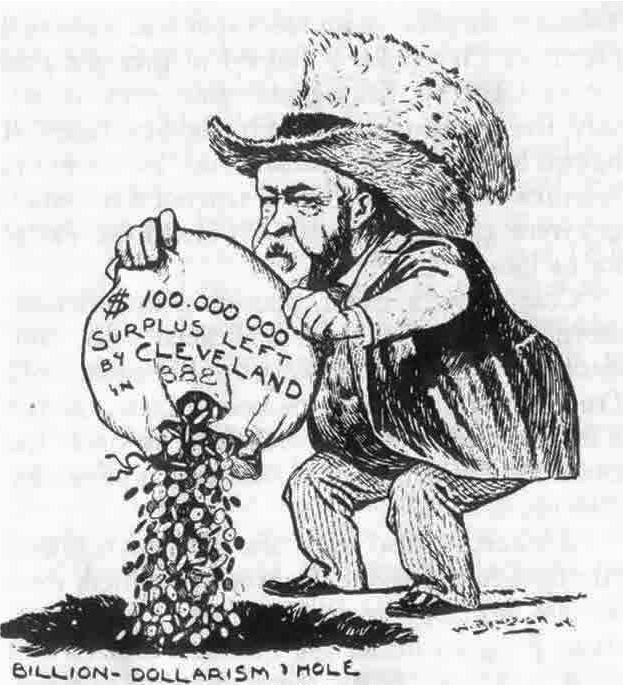 The cartoon shows Benjamin Harrison dumping a bag labeled '$100 million surplus left by Grover Cleveland' into a hole labeled 'billion dollars in the hole'.