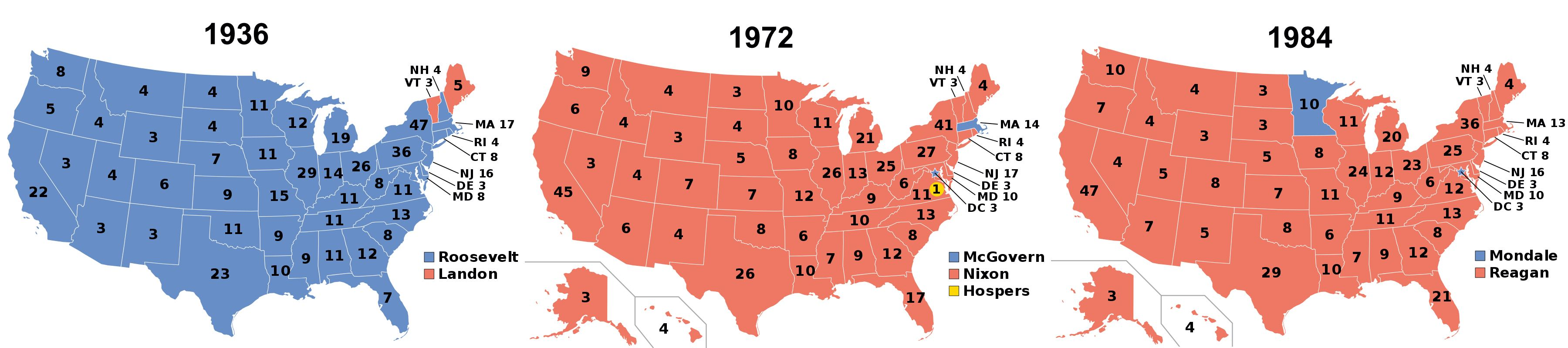 FDR lost just two states (VT and ME) in  1936; Nison lost just one state (MA) plus DC in 1972; Reagan lost just one state (MN) plus DC in 1984
