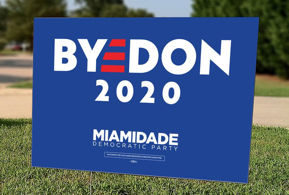 The Biden logo, wherein  the E is three parallel red lines, has been transformed into 'Bye Don'