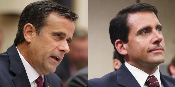 Ratcliffe and Carell have the same haircut, hair color, nose, and general appearance