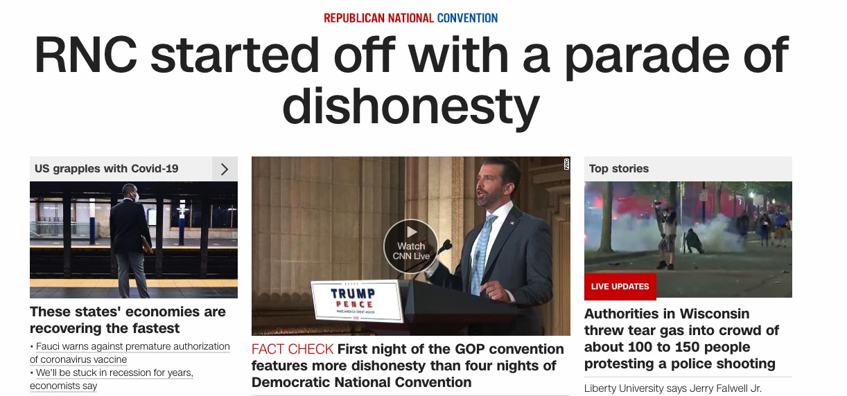 The main headline is 'RNC started off with a parade of dishonesty'