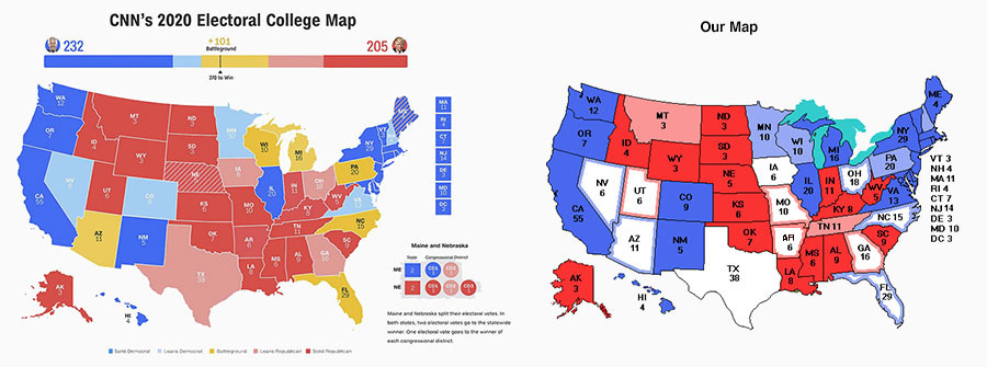 CNN's first electoral college map, much more conservative than ours