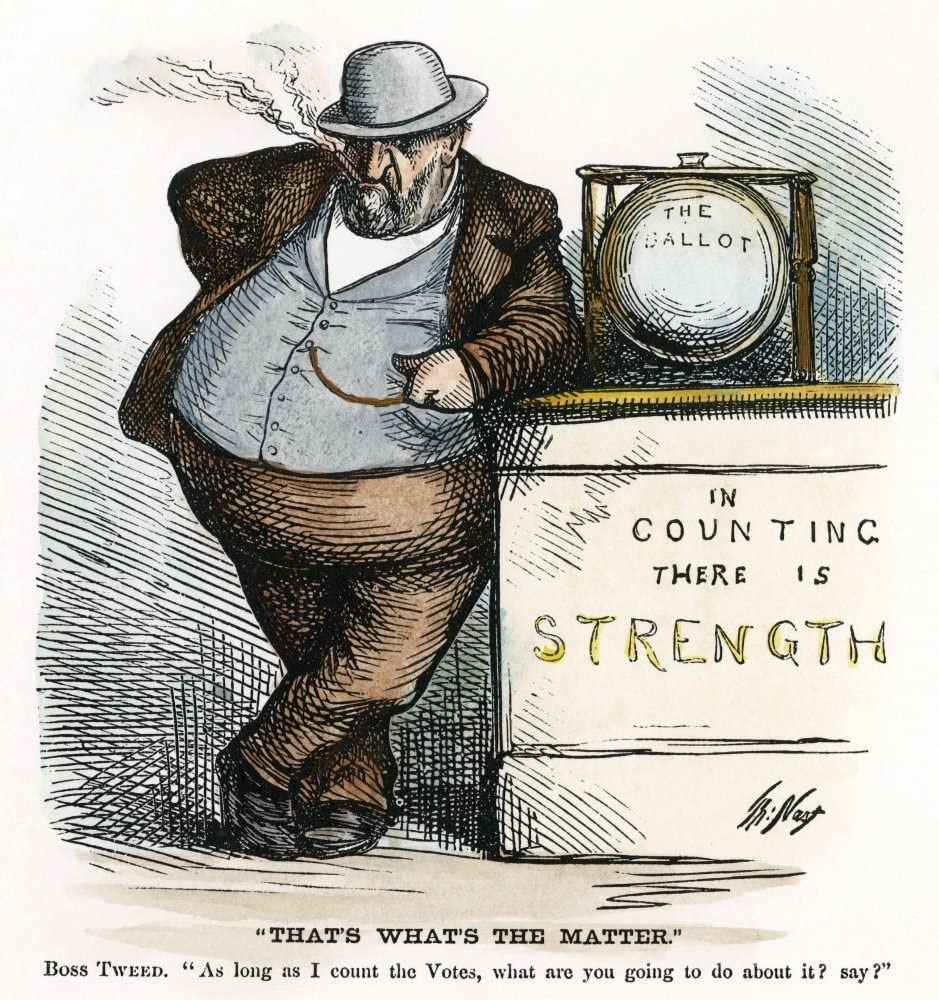 The cartoon shows a shady-looking guy, clearly Boss Tweed, standing next to a ballot box. The ballot box is sitting on a platform or table that is engraved 'in counting there is strength.'