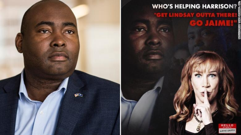 On the left, Jaime Harrison with a normal skin tone, and on the right, Harrison much darker and in shadows, along with a picture of Kathy Griffin and a claim that she's funding his campaign.