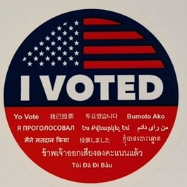 'I Voted' is rendered in about 20 different languages