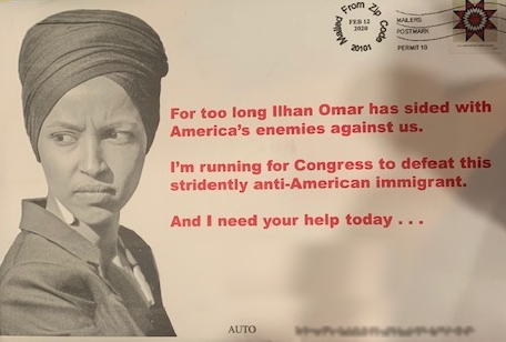 Postcard that shows Ilhan Omar with her head  covering and a frown, and talks about how much she hates Americans