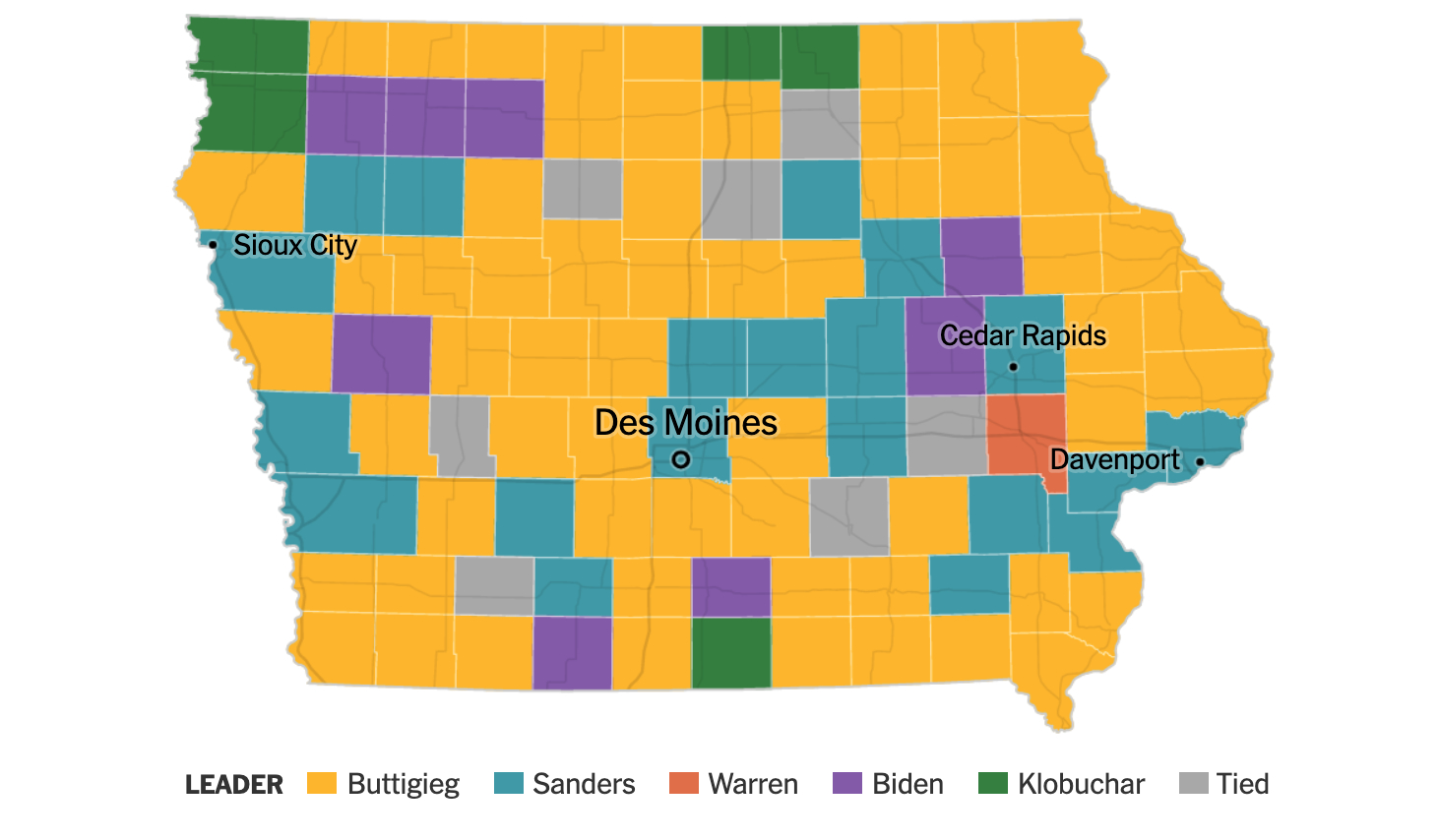 The map shows four city names, namely Des Moines,  Davenport, Cedar Rapids, and Sioux City, and Sanders won most of the counties that include or are near those cities. Most of the rest of the map went for Buttigieg, excepting a few scattered counties here and there for Biden or Klobuchar, one for Warren, and some ties.