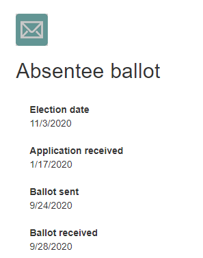 In this case, a website lists all the key dates for the voter's ballot, from 'application received' on 1/17 to 'ballot received' on 9/28