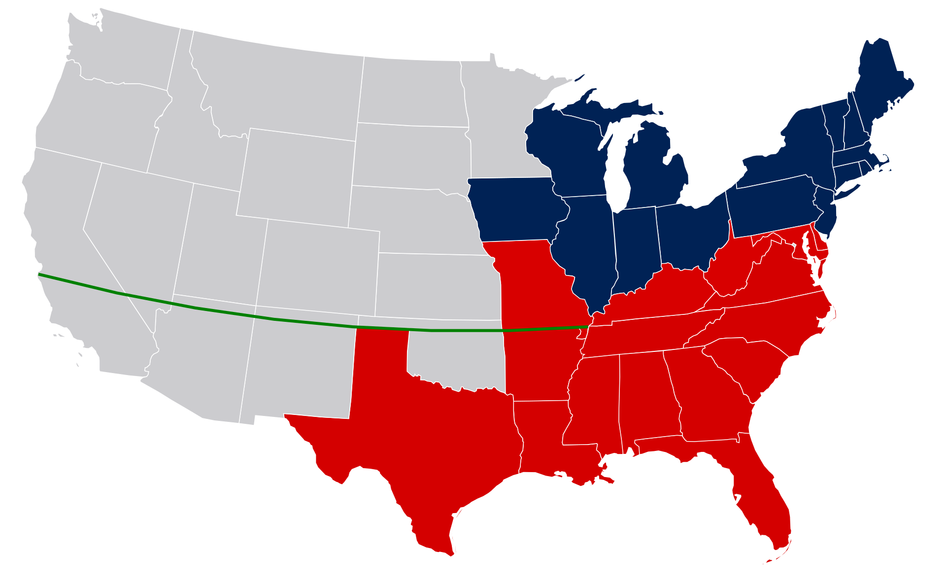 The Missouri Compromise line runs through the far northern parts of Oklahoma, New Mexico and Arizona, the far southern part of Nevada, and right through the middle of California