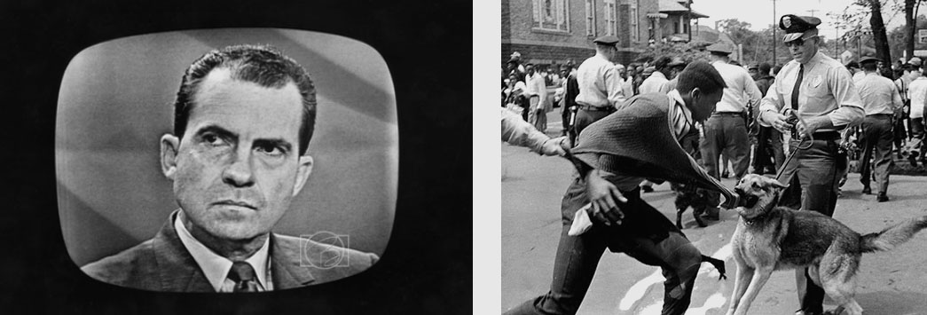 Left: Richard Nixon debating, Right: Dog attacking civil rights demonstrator