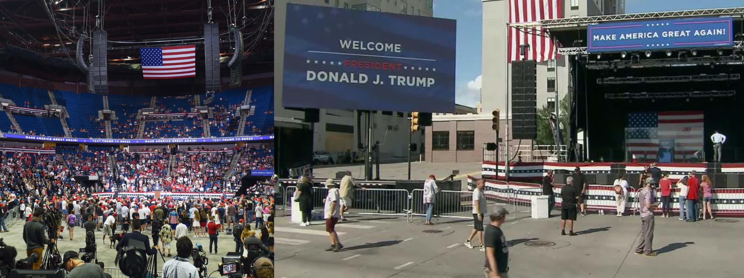 Left: there are many empty seats in the lower part of the bowl, and there is virtually nobody sitting in the upper part; Right: there are perhaps a dozen people milling around an area with giant TVs that was clearly set up to accomodate a crowd of thousands