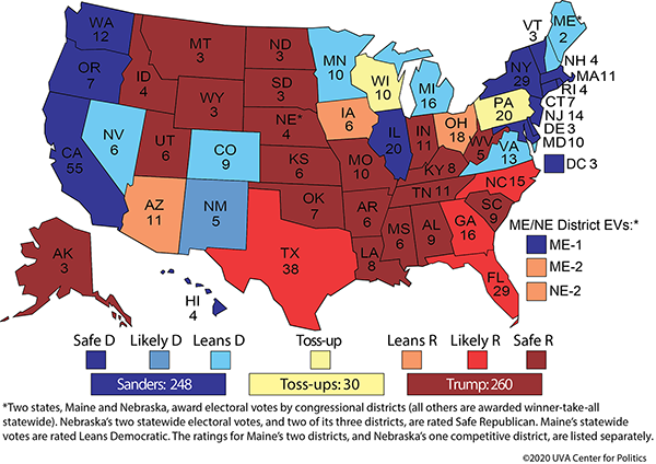 Sabato has California,  Oregon, Washington, Illinois, New York, Massachusetts, Vermont, Maryland, Hawaii, and DC as Democratic locks; Nevada, Colorado, New Mexico, Minnesota, Michigan, Maine, New Hampshire, and Virginia as likely Democratic, Wisconsin and Pennsylavania as toss-ups,  North Carolina, Georgia, Florida, and Texas as likely Republican, and everywhere else as Republican locks.