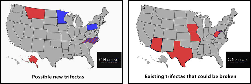 State trifecta maps; the first one--showing possible pickups--has Montana and Alaska in Red, Minnesota and Pennsylvania in blue, and North Carolina  in purple. The second one--showing possible trifectas being broken--has Arizona, Texas, Missouri, Iowa, and West Virginia in red and nothing in blue or purple.