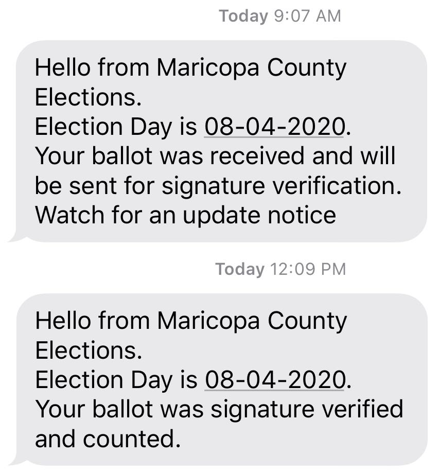 Two text messages confirming  receipt and counting of the ballots, as described.