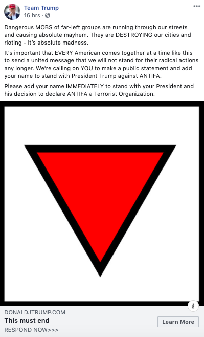 An ad bitching about Antifa is accompanied by a giant upside-down red triangle