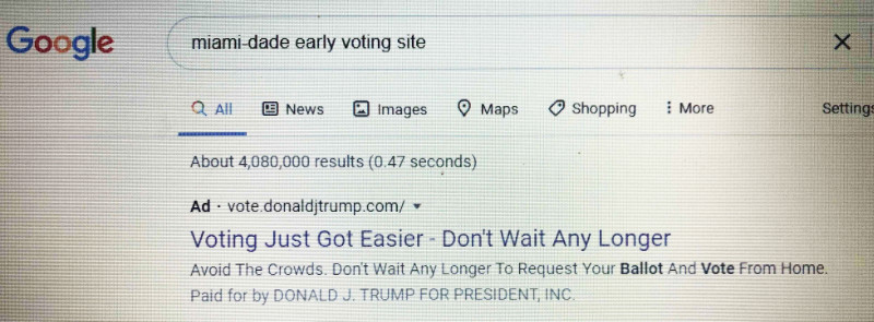 Following a Google search for 'Miami-Dade early voting,' the first result is an ad from the Trump campaign offering vote-by-mail information