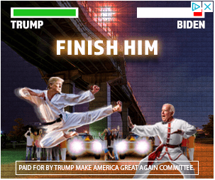 An animated scene, reminiscent of a 1990s-style martial arts game, in which Trump and Biden square off against one another. Trump is flying through the air, about to deliver a kick to the face of Biden.