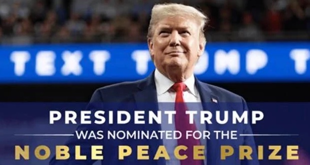 Ad from the Donald Trump campaign  bragging that he's been nominated for the Noble (not Nobel) Peace Prize