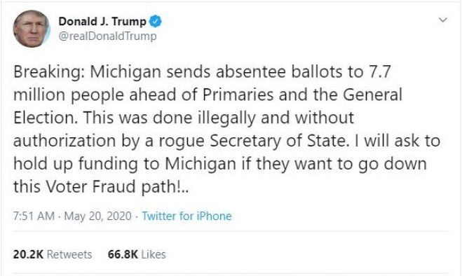 The tweet accuses Michigan's secretary of  state of sending out actual ballots, which she did not do, as opposed to absentee ballot applications