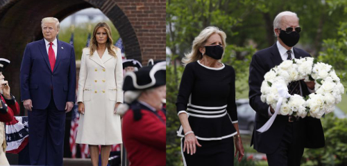 The Bidens are wearing masks, the Trumps are not