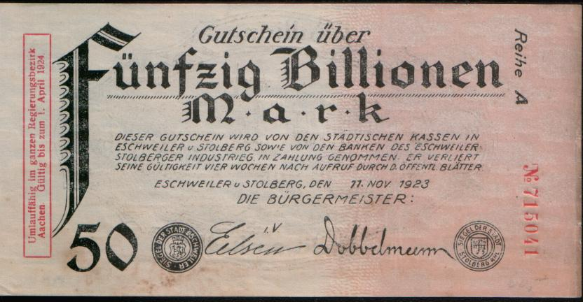 A bill that says 'funfzig billionen Mark'