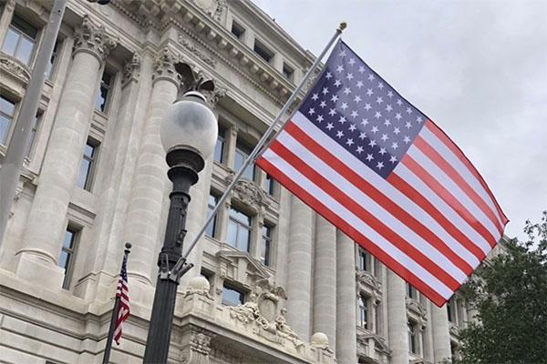 51-star flag outside Wilson building in D.C.